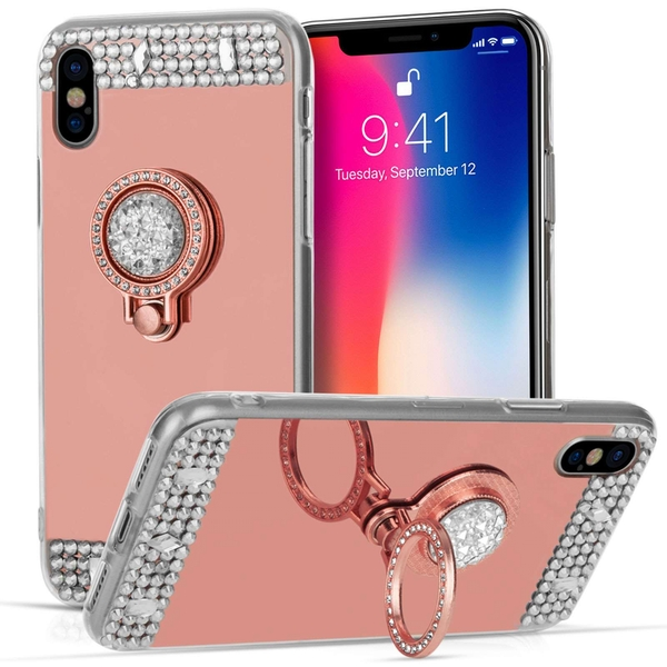Compare prices with Phone Retailers Comaprison to buy a Apple iPhone X Mirrored Diamond Kickstand TPU Gel - Rose Gold