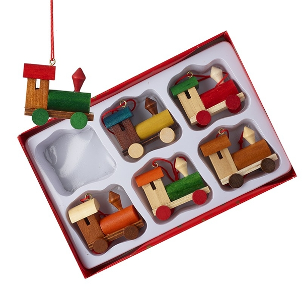 Hanging Wooden Train Decoration (Set of 6) By Heaven Sends