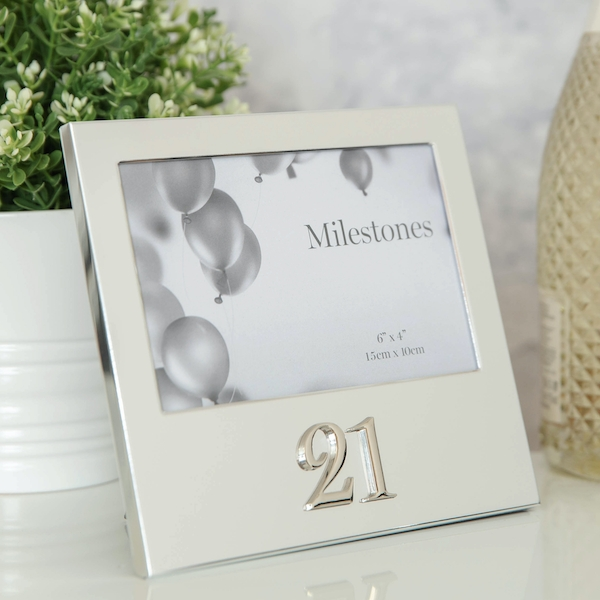 """6"""" x 4"""" - Milestones Birthday Frame with 3D Number - 21"""
