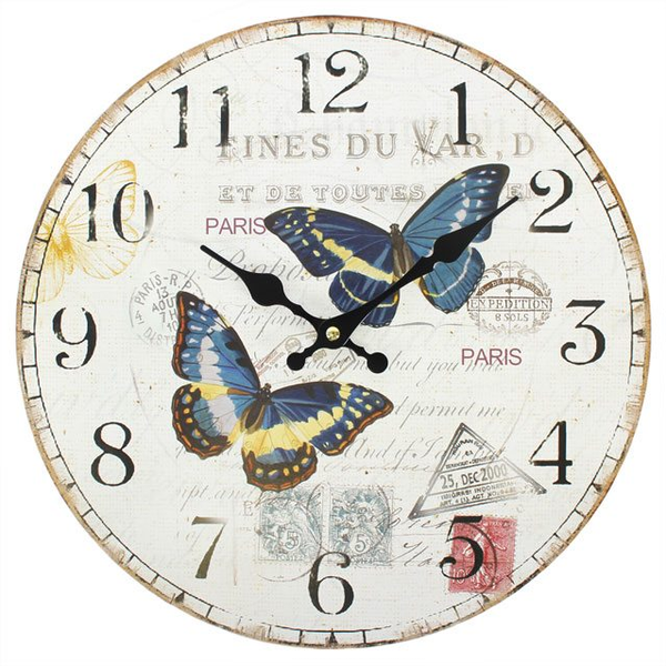 Shabby Chic Double Butterfly Wall Clock