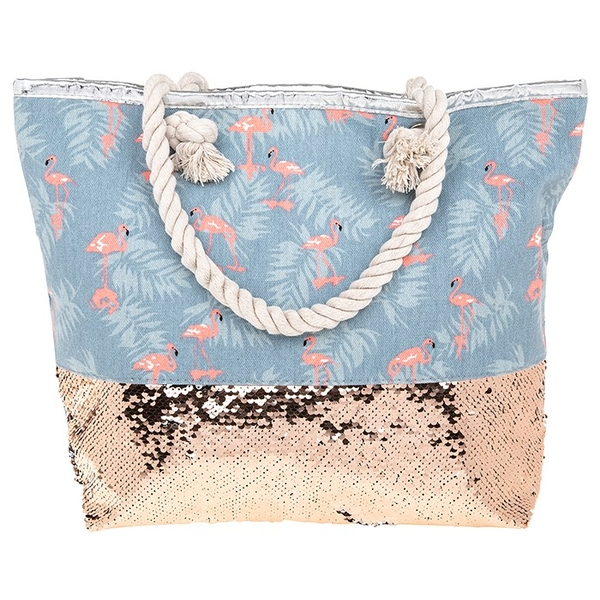 Image of Flamingo Silver Gold Sequins Tote Bag