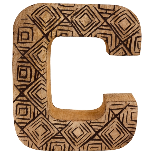 Letter C Hand Carved Wooden Geometric