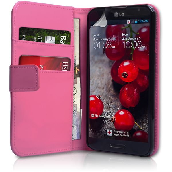 YouSave Accessories LG Optimus G Pro Leather-Effect Wallet Case - Hot Pink