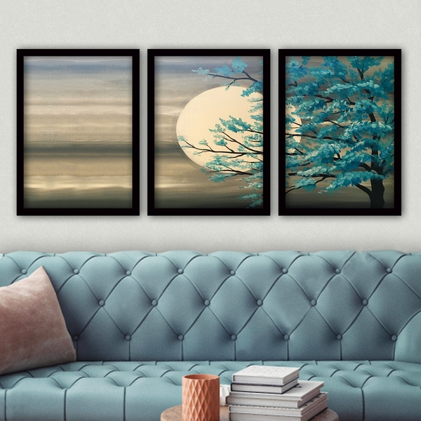 3SC189 Multicolor Decorative Framed Painting (3 Pieces)