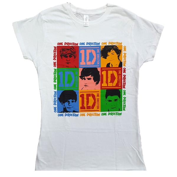 One Direction - 9 Squares Ladies Small T-Shirt - White