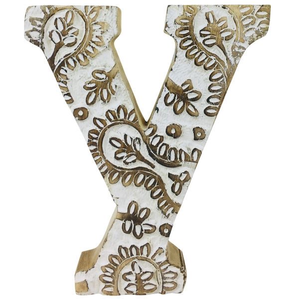 Letter Y Hand Carved Wooden White Flower