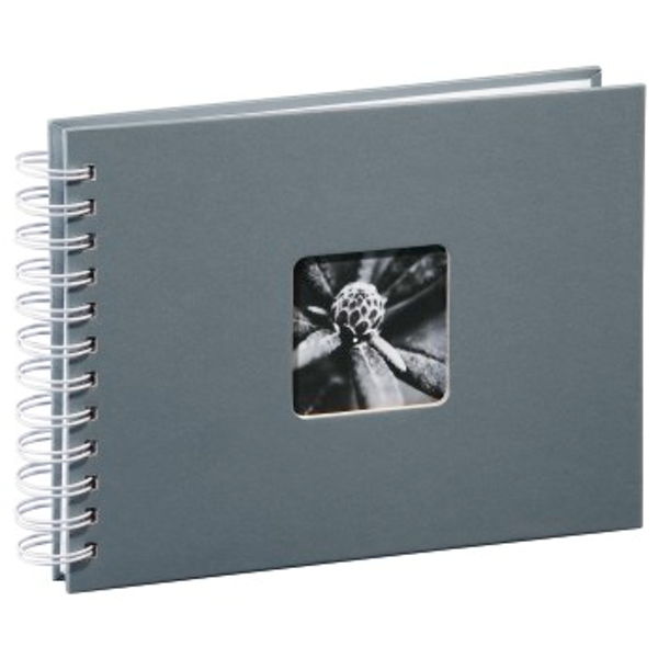 Hama 00002111 Photo Album with 50 White Pages 25 Sheets ? 24 x 17 cm, with Cut-Out for Insertable Picture) Gray (White Pages)