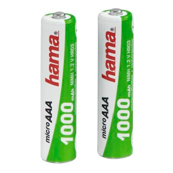 Hama Rechargeable NiMH Batteries, 2x AAA (Micro - HR03) 1000 mAh