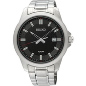Seiko SUR245P1 Mens Dress Watch with Stainless Steel Bracelet & Black Dial