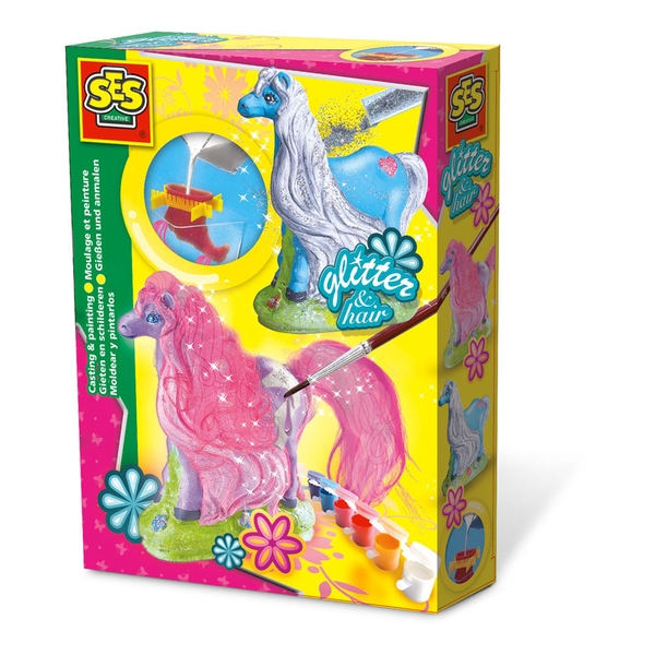 SES Creative - Children's Glitter Hair Horses Casting and Painting Set 5-12 Years Multi-colour
