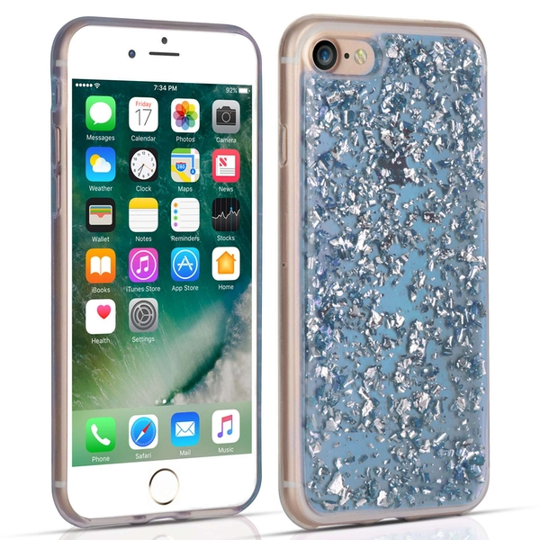 Caseflex iPhone 7 Tinfoil Soft Case - Blue - Image 1
