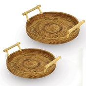 Rattan Serving Trays - Set of 2 | M&W