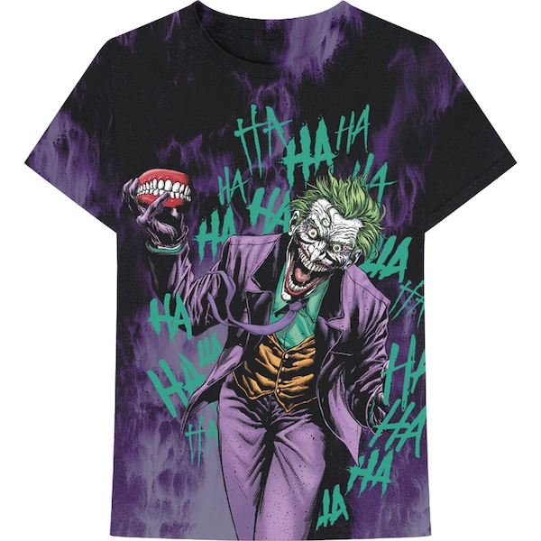 DC Comics - Joker All Over Faded Unisex Medium T-Shirt - Black