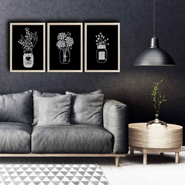 3PKCT-004 Multicolor Decorative Framed MDF Painting (3 Pieces)
