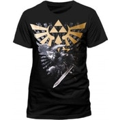 Zelda Mens Gold Link Logo Small Black T-Shirt