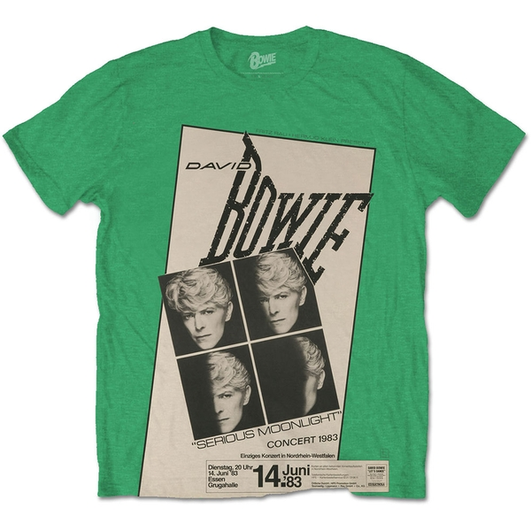 David Bowie - Concert '83 Unisex Small T-Shirt - Green