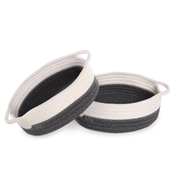 Cotton Rope Storage Baskets - Set of 2 | M&W Grey & White