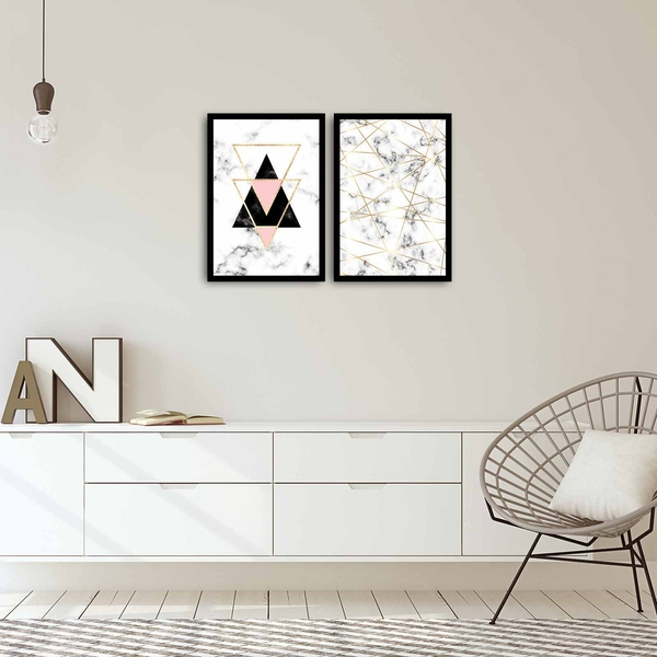 2PSCT-05 Multicolor Decorative Framed MDF Painting (2 Pieces)