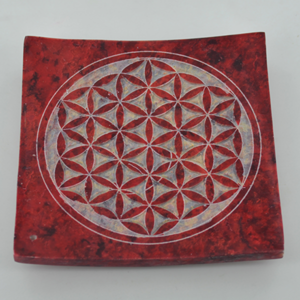 Soapstone Flower of Life Incense Plate10cm
