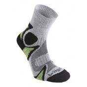 Bridgedale Men's Cool Fusion Trail Head Socks, Grey/Black - Medium