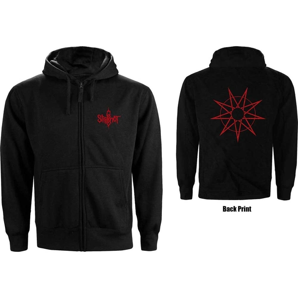 Slipknot - 9 Point Star Unisex Small Zipped Hoodie - Black