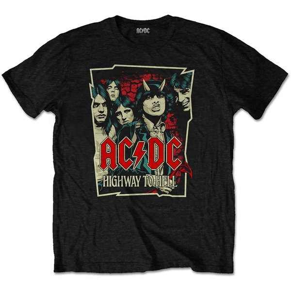 AC/DC - Highway To Hell Sketch Unisex Large T-Shirt - Black