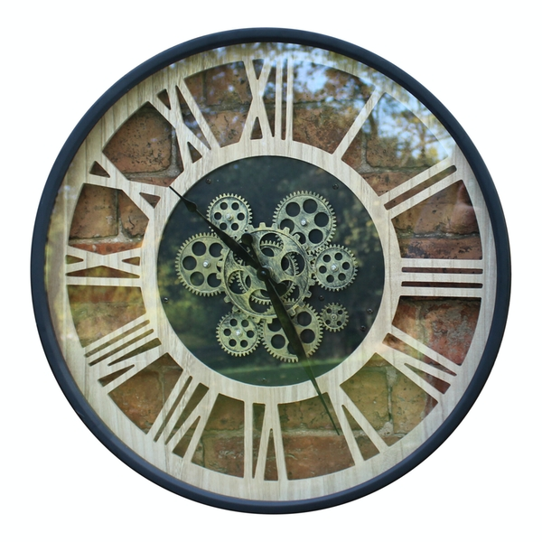 Black and Natural Moving Gear Clock, 57cm.