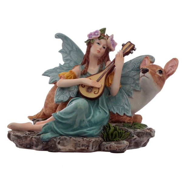 Turquoise Flower Fairy with Lute and Fawn