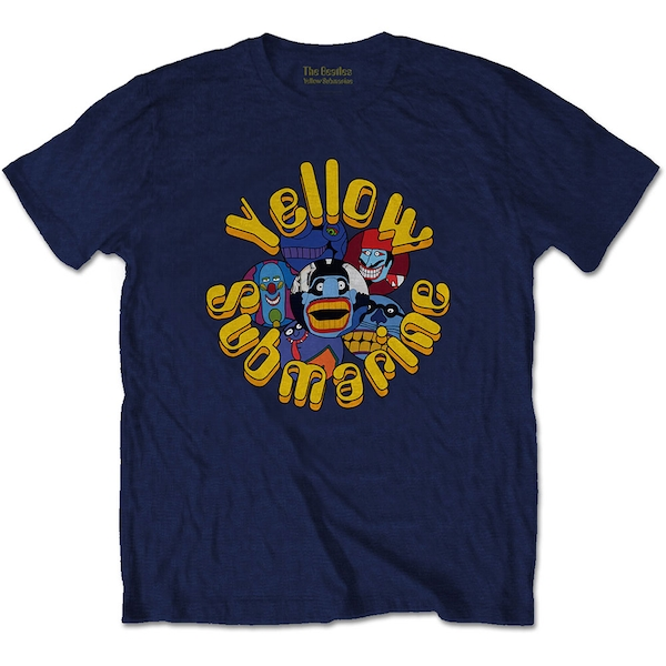 The Beatles - Yellow Submarine Baddies Men's Medium T-Shirt - Navy Blue