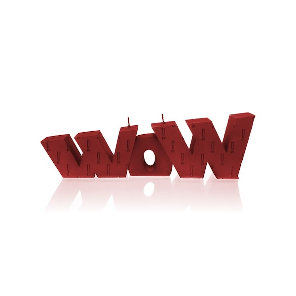Red WOW Sign Candle
