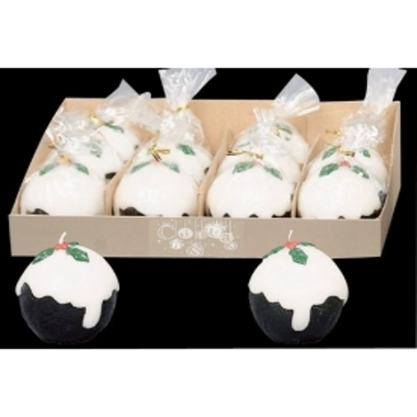 Christmas Pudding Candle Decoration 4 Pack