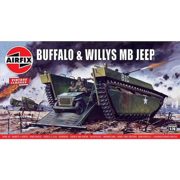 Buffalo Willys MB Jeep 1:76 Vintage Classic Military Air Fix Model Kit