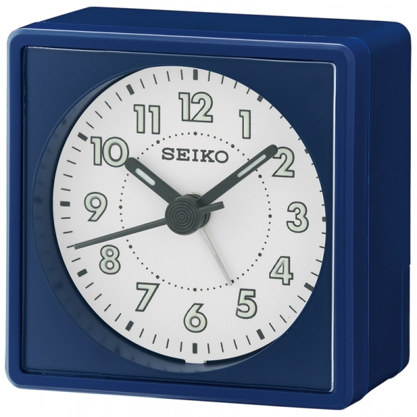 Seiko QHE083L Analogue Bedside Beep Alarm Clock with Snooze Navy Blue