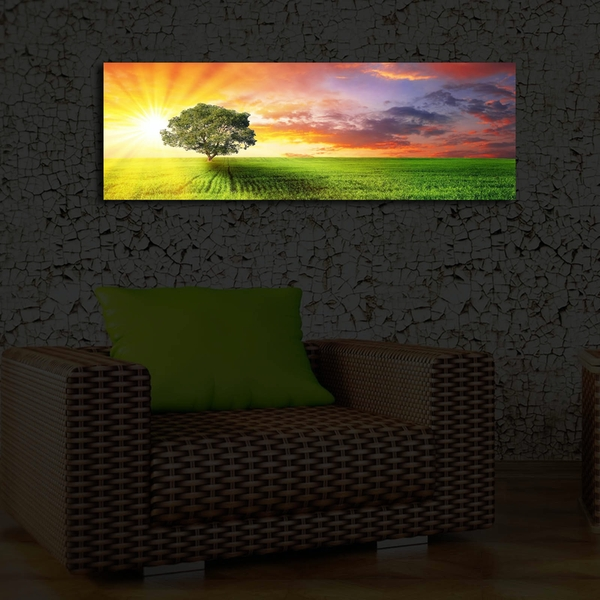 Tree Scene Multicolor Decorative Led Lighted Canvas Painting