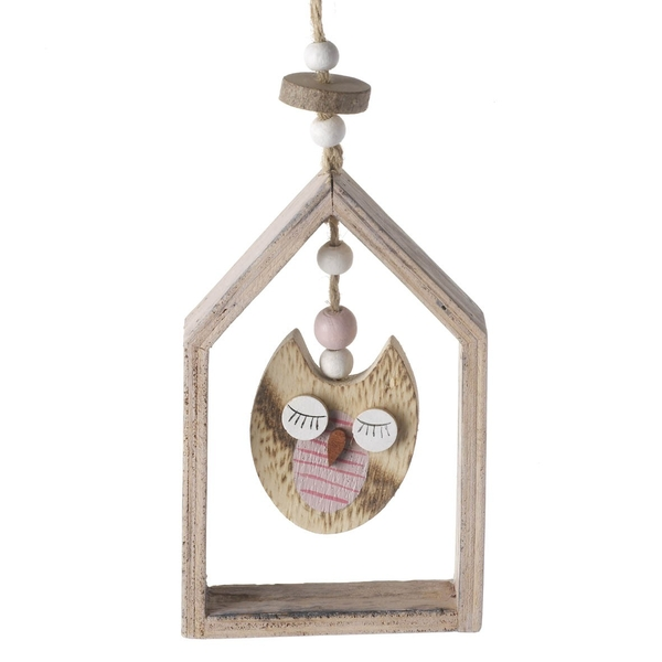 Hanging Wood Owl Decoration by Heaven Sends