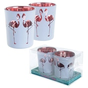 Flamingo Design Set of 2 Glass Candleholder