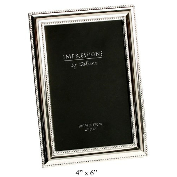 "4"" x 6"" - Impressions Silver Plated Beaded Edge Photo Frame"