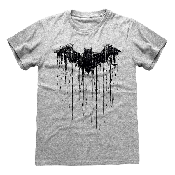 Batman - Dripping Logo Unisex Large T-Shirt - Grey