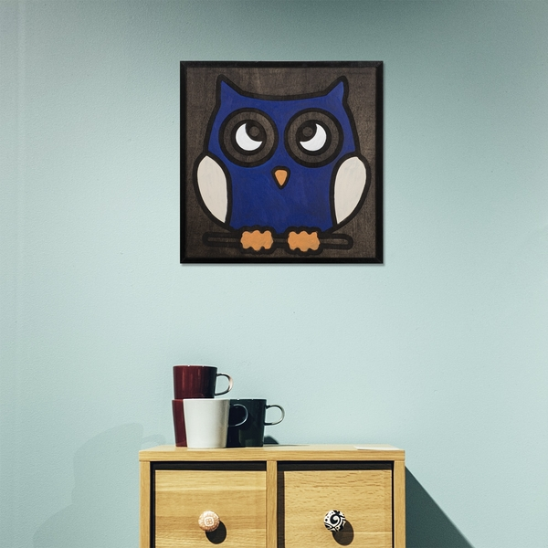 Navy Blue Owl Black White Navy Blue Decorative Wooden Wall Accessory