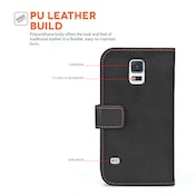 YouSave Accessories Samsung Galaxy S5 Leather-Effect Wallet Case - Black