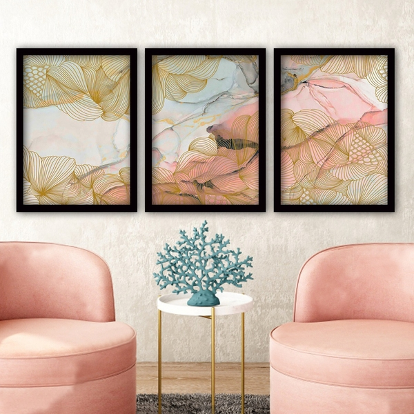3SC10 Multicolor Decorative Framed Painting (3 Pieces)