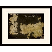Game of Thrones - Westeros and Essos Antique Map Mounted & Framed 30 x 40cm Print
