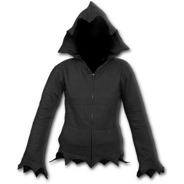 Gothic Elegance Zig Zag Hem Full Zip Women's Small Hoodie - Black