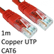 RJ45 (M) to RJ45 (M) CAT6 1m Red OEM Moulded Boot Copper UTP Network Cable - Image 2