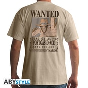 One Piece - Wanted Ace Men's X-Large T-Shirt - Beige