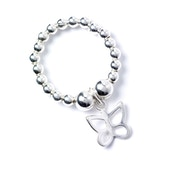 Butterfly Charm with Sterling Silver Ball Bead Ring