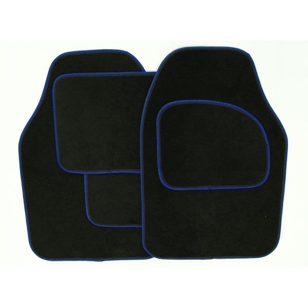 Streetwize Velour Carpet Mat Sets with Coloured Binding - 4 Piece Black With Blue Piping