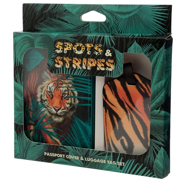 Spots and Stripes Big Cat Passport Holder and Luggage Tag Set