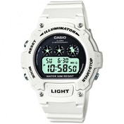 Casio W-214HC-7AVEF Illuminator Sports Digital Chrongraph Watch - White