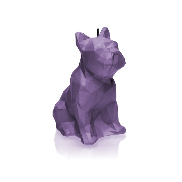 Lilac Low Poly Bulldog Candle